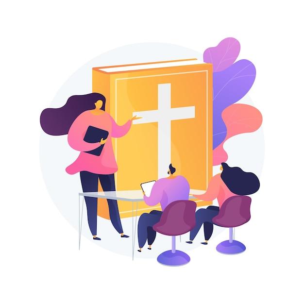 Lezioni teologiche concetto astratto illustrazione. lezioni religiose online, corso di studi, pensatori cristiani, scuola di divinità, dottrina di dio, padri della chiesa Vettore gratuito
