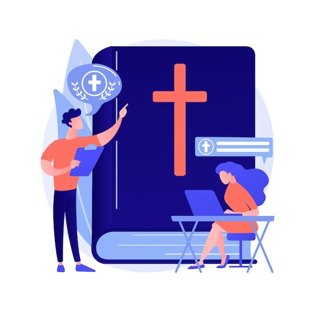 Lezioni teologiche concetto astratto illustrazione vettoriale. lezioni religiose online, corso di studi, pensatori cristiani, scuola di divinità, dottrina di dio, metafora astratta dei padri della chiesa. Vettore gratuito