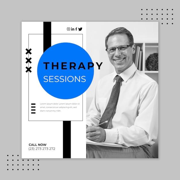 Modello di volantino quadrato di sessioni di terapia Vettore gratuito