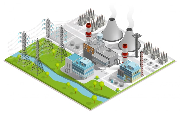 Thermal power station illustration Free Vector