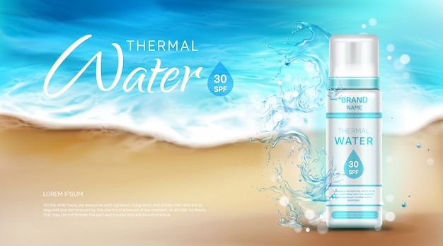 Thermal water cosmetic bottle with spf ad banner Free Vector