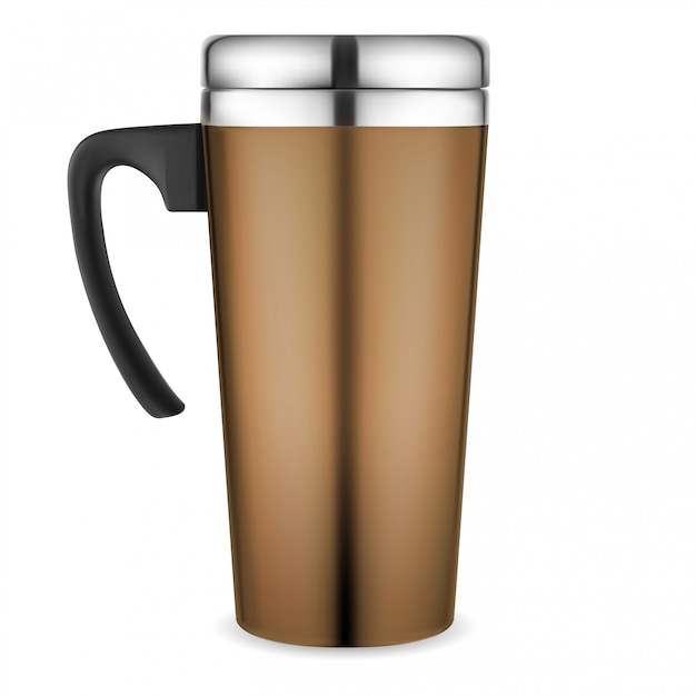 Thermo mug. travel coffee cup. metal flask Premium Vector