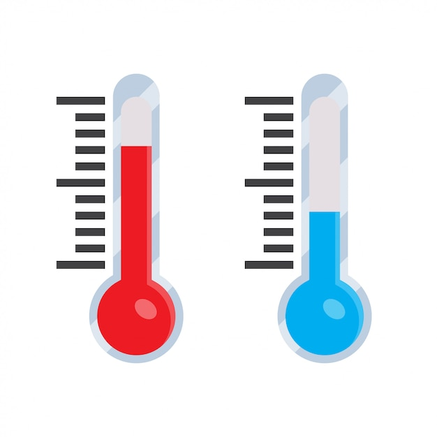 Thermometer icon in a flat style Premium Vector