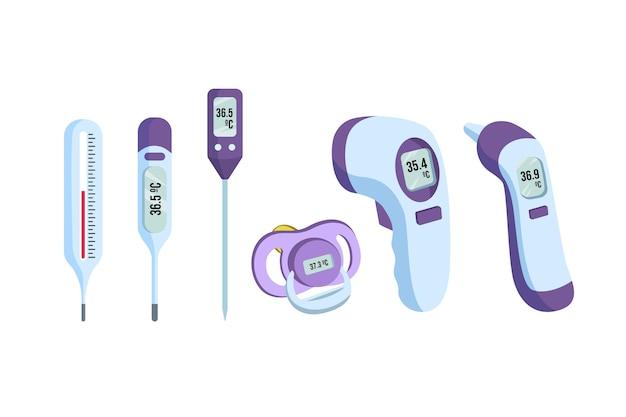Tipi di termometro in design piatto Vettore gratuito