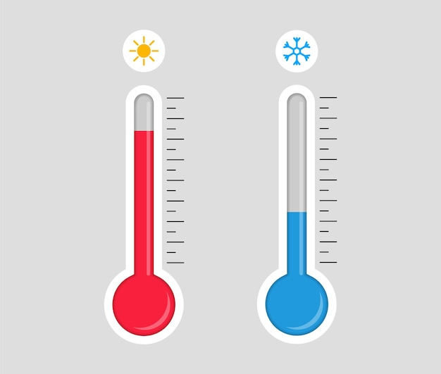 Thermometer with hot or cold temperature. Premium Vector