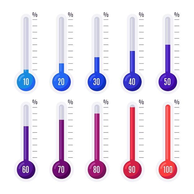 Thermometers with different temperatures Premium Vector