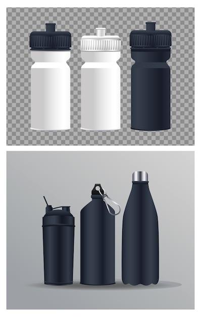 Термопластические бутылки с водой брендинговые значки Premium векторы