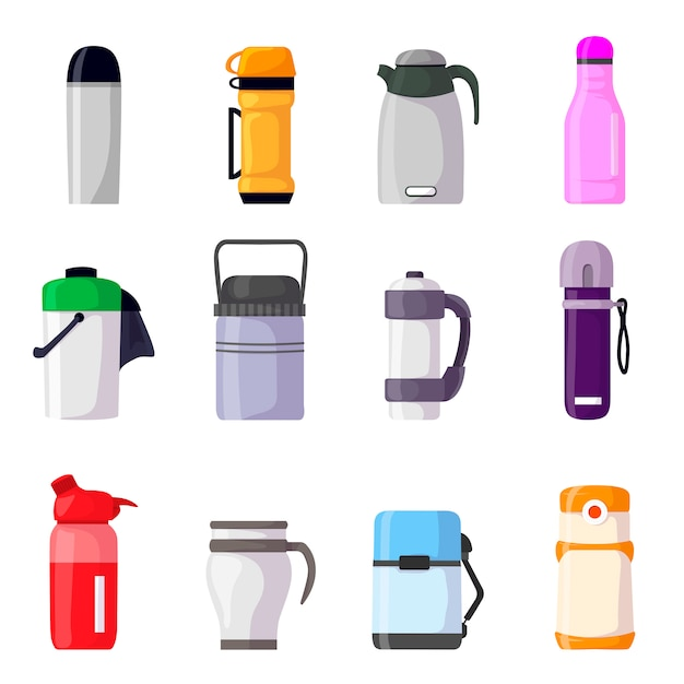 Thermos vacuum flask or bottle with hot drink coffee or tea illustration set of metal container or aluminum mug or cup isolated on white background Premium Vector