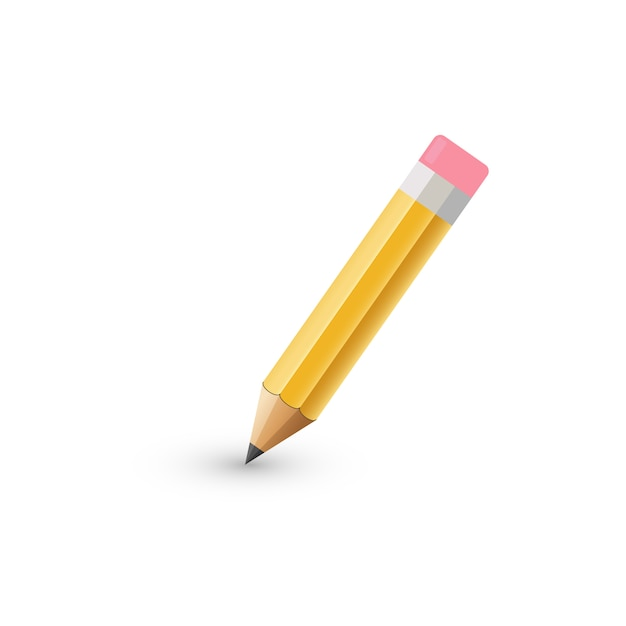 . thick pencil with eraser isolated.  illustration. Premium Vector