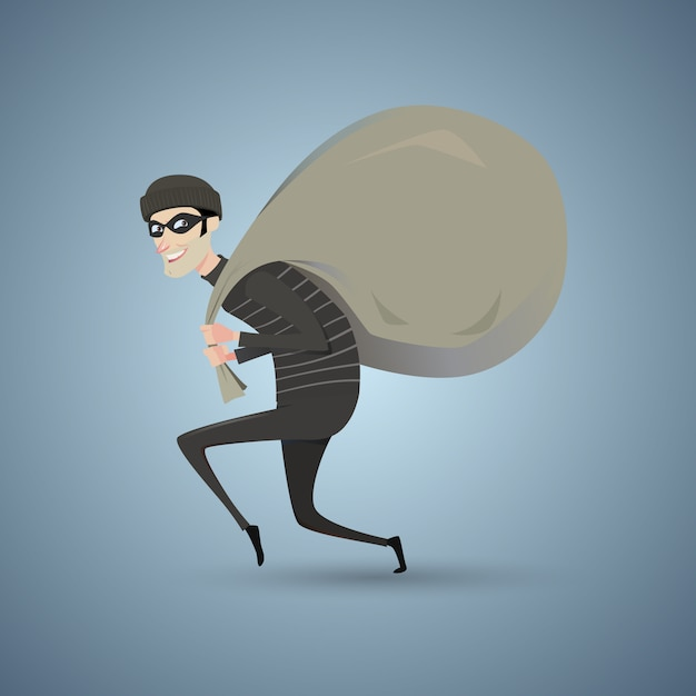 Thief in black clothes carrying a large bag. Premium Vector