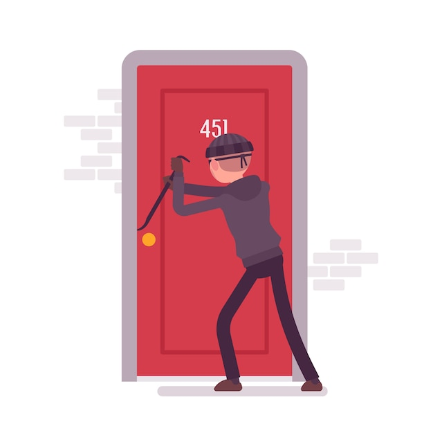Thief breaking the door Premium Vector