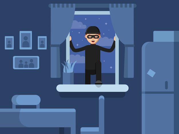 Thief broken in through the window Premium Vector