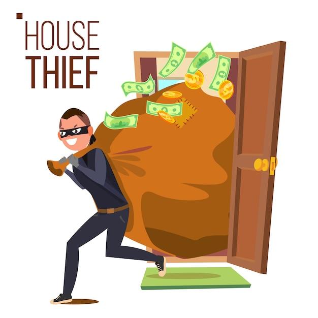 Thief and door Premium Vector