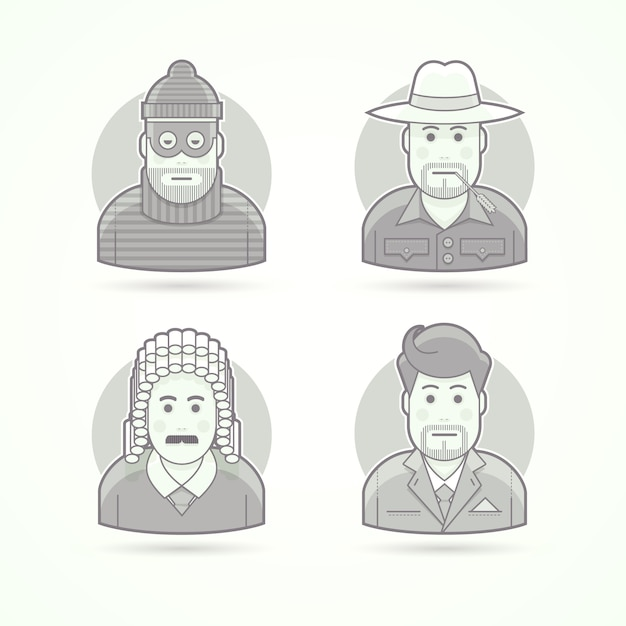 泥棒、農家、裁判官、実業家のアイコン。キャラクター、アバター、人物のイラスト。黒と白のアウトラインスタイル。 Premiumベクター