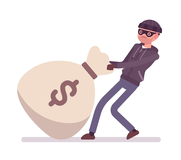 Thief and a giant money bag Premium Vector