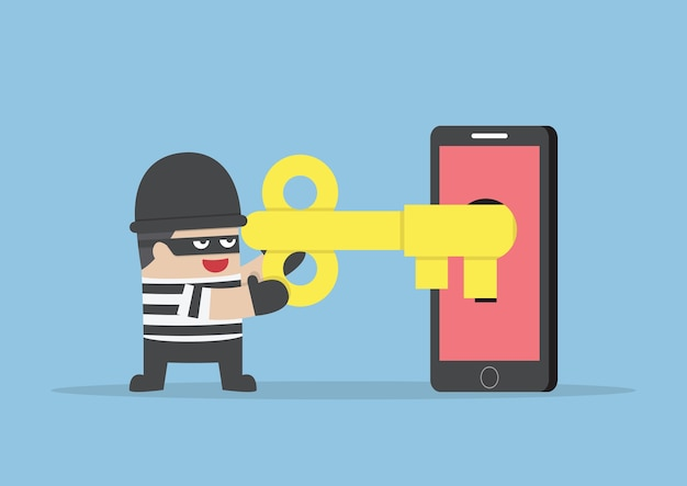 Thief or hacker hacking smartphone by key Premium Vector