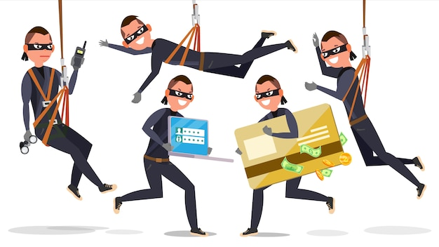 Thief, hacker man Premium Vector