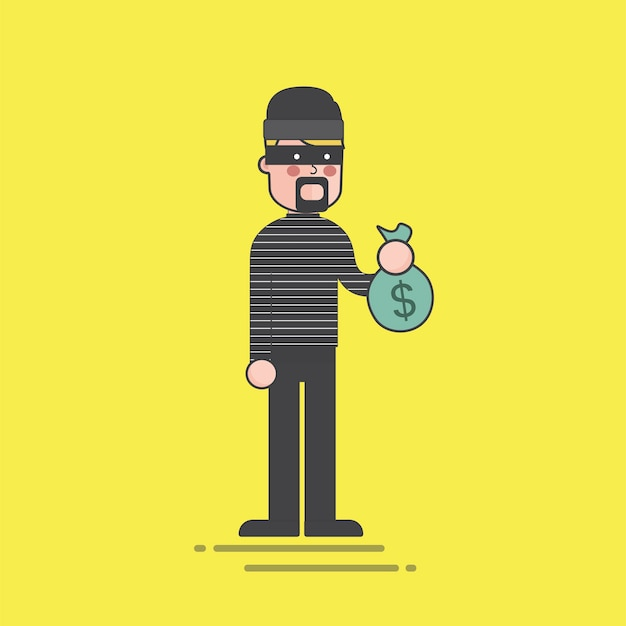 Thief holding a money bag illustration Free Vector