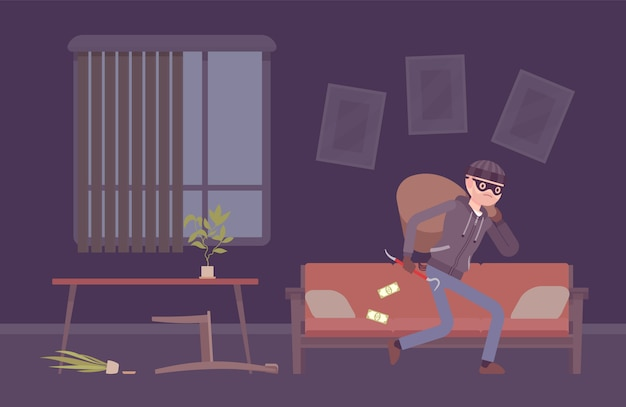 Thief housebreaker in a room Premium Vector