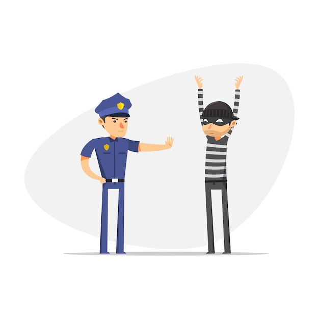 A thief is being stopped by police. isolated vector illustration Premium Vector