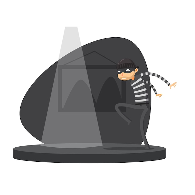 A thief is sneak walking. isolated vector illustration Premium Vector