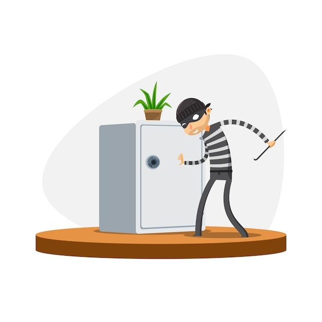 A thief is trying to open the safe box. isolated vector illustration Premium Vector