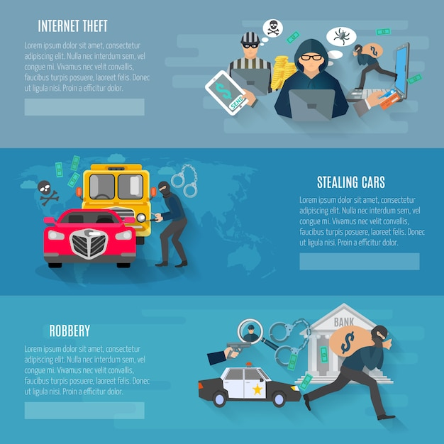 Thief and robbery horizontal banners set with stealing cars and internet theft Free Vector