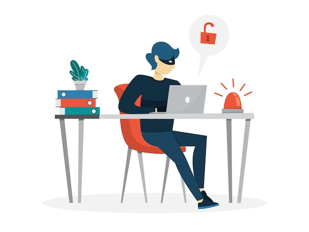 Thief steal personal data with password. cyber crime Premium Vector