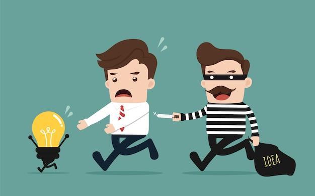 Thief stealing idea Premium Vector