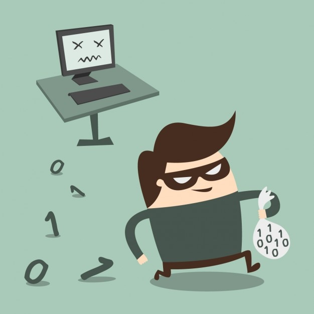 Thief stealing information from the computer Free Vector