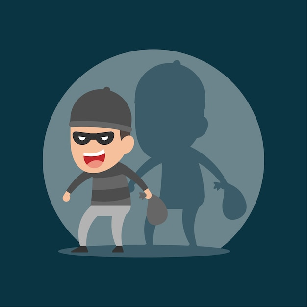 Thief steals in the night Premium Vector