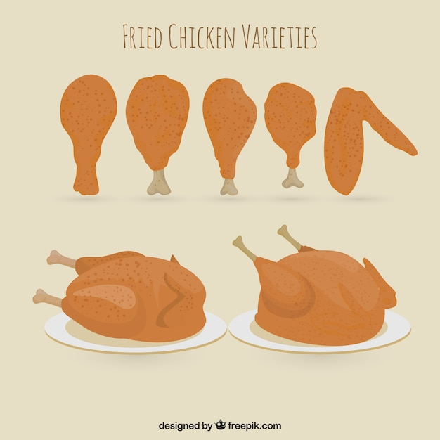 Thigh of chickens and other varieties Premium Vector