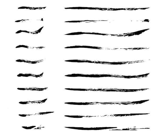 Thin ink brush strokes Free Vector