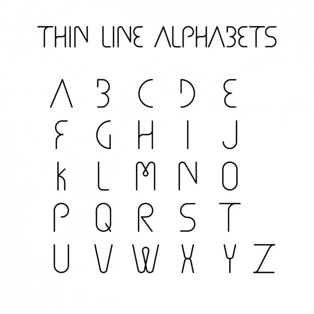 thin line alphabet design free vector