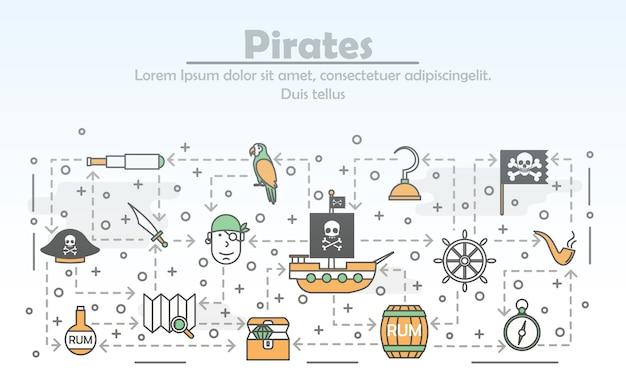 Thin line art pirates poster Premium Vector
