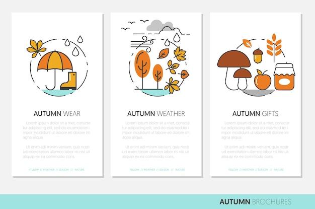 細いラインの秋のビジネスパンフレットと秋の摩耗雨の天気と自然の贈り物。図 Premiumベクター