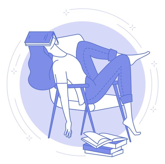 Тонкая линия синего символа молодой женщины, спящей с открытой книгой, студента или ночной работы, усталости. Premium векторы