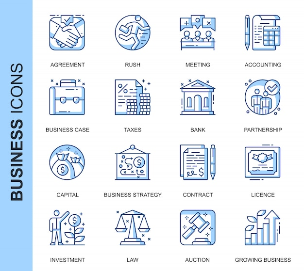 Thin line business related icons set Premium Vector