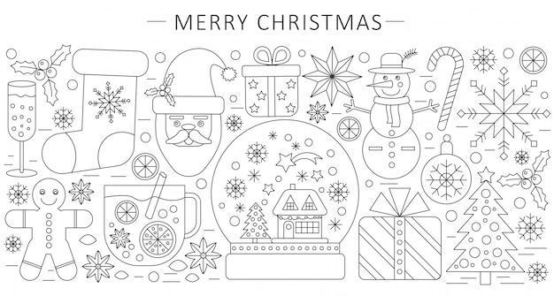 Thin line christmas background Premium Vector