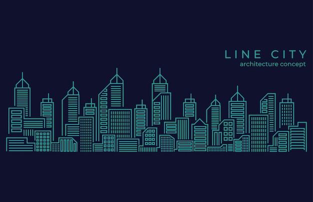 Thin line city landscape Premium Vector