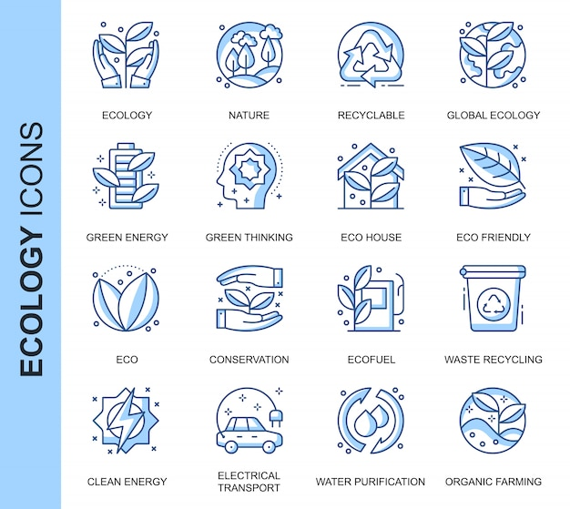 Thin line ecology related icons set Premium Vector