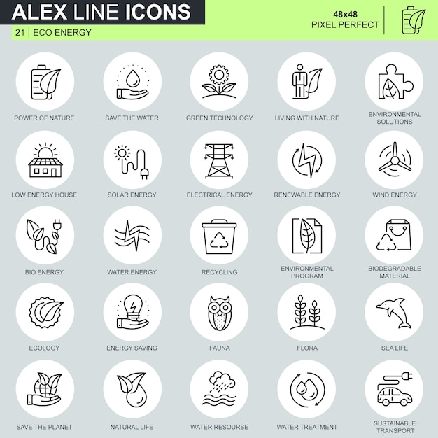 Thin line environment, renewable energy technology icons set Premium Vector