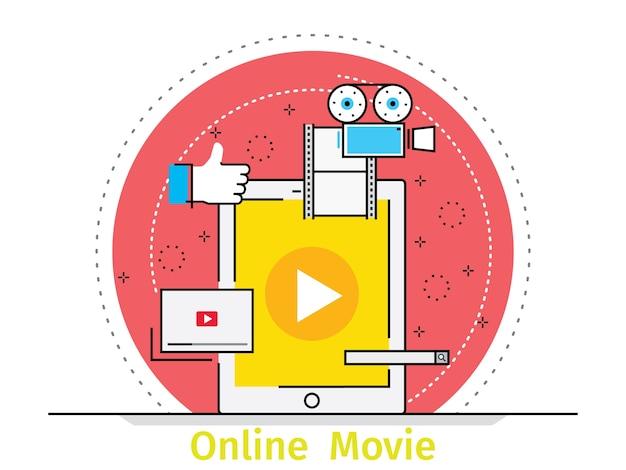 Thin line flat design concept of online education Premium Vector