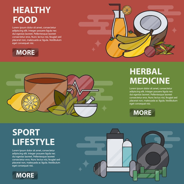 Thin line  horizontal banners of healthy food, herbal medicine and sport lifestyle. business concept of alternative medicine and healthcare, naturopathy, homeopathy, bio and eco food. Premium Vector