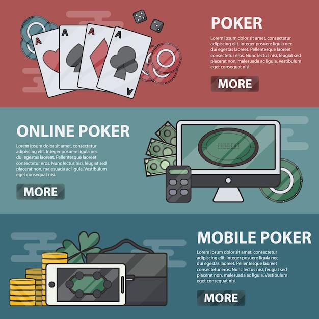 Тонкие горизонтальные баннеры онлайн и мобильного покера. бизнес-концепция казино, азартных игр и денежных игр. набор элементов покера. Premium векторы