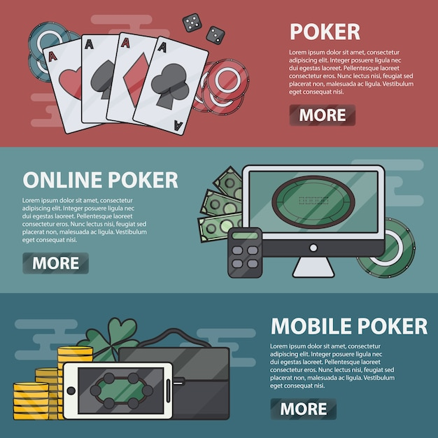 Thin line  horizontal banners of online and mobile poker. business concept of casino, gambling and money game. set of poker elements. Premium Vector