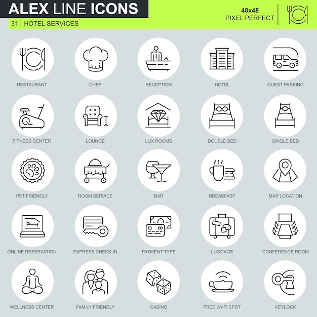 Thin line hotel services icons set Premium Vector