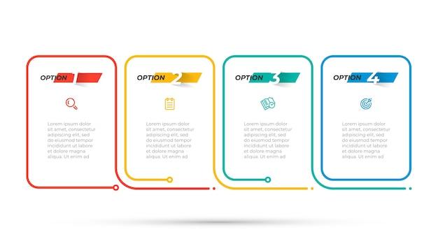 아이콘과 숫자가있는 얇은 라인 인포 그래픽 디자인. 4 가지 옵션 또는 단계가있는 비즈니스 개념. 벡터 템플릿입니다. 프리미엄 벡터