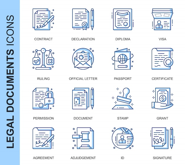 Thin line legal documents related icons set Premium Vector