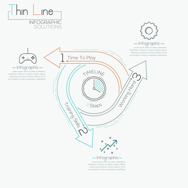 Thin line minimal arrow business cycle infographic template Premium Vector